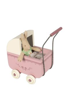 Maileg Wooden Pram, Lavender with Bed Linens