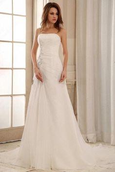 A-line ,Strapless , White ,Wedding Dress