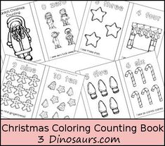 Free Christmas Coloring Counting Book by 3Dinosaurs.com