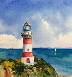 Digital prints: Seascape, Lighthouse and Mermaids by Watercolor Landscape, Watercolor Paintings, Lighthouse Painting, Lighthouse Decor, Watercolor Pictures, Guache, Seascape Paintings, Art Drawings, Art Projects