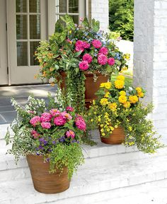 Beautiful Porch Flower Pots - Best Front Door Flower Pots and Porch Planters: Flower Pot Ideas and Planter Designs For Your Front Porch Container Flowers, Flower Planters, Flower Pots, Best Front Doors, Beautiful Front Doors, Front Porch Flowers, Front Door Planters, Container Gardening Vegetables, Garden Container