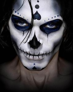 halloween male dia de los muertos make upface paint - Scary Faces For Halloween With Makeup