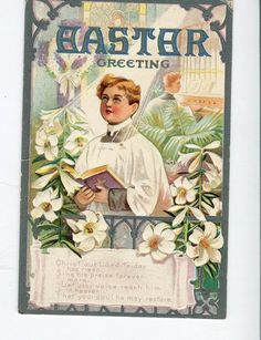 Easter Vintage Greetings Postcard Choir boy by sharonfostervintage, $2.00
