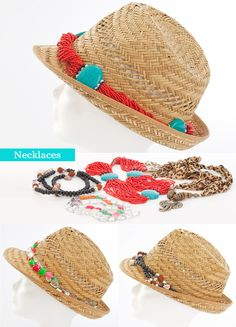 Use old jewelry summer straw hat diy fashion ideas necklaces decoration Straw Art, Straw Weaving, Diy Hat, Diy Straw Hat, Fancy Hats, Diy Fashion, Fashion Ideas, Kids Hats, Summer Hats