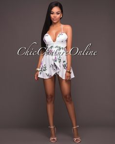 Chic Couture Online - Latiste Off-White Floral Print Padded Romper,(http://www.chiccoutureonline.com/latiste-off-white-floral-print-padded-romper/)
