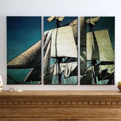 Vintage Serendipity - Large Canvas Art, Ship, Boat, Sail, Wind, Water, California, San Diego, Triptych, 3 Panel, Home Decor, READY TO HANG