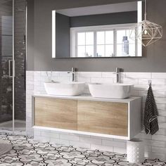 Harbour Scene 1200mm Wall Mounted Countertop Vanity Unit Gloss White and Oak. Push to open soft close drawers, Extra deep drawer area, Select your own tall or wall mounted tap, 2 year guarantee.