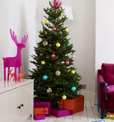 colorful christmas trees - www.bellemaison23.com    Simplicity