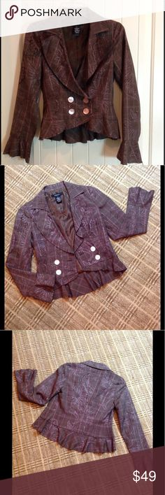 Arden B Purple Plaid Blazer S Details help this cute blazer have an updated trendy look!  Large buttons. Ruffle hi/low hem. Slight ruffle cuff. Purple plaid fabric highlighted with a hint of sparkle. Fully lined. Poly/rayon blend. S. No sign of wear! Arden B Jackets & Coats Blazers