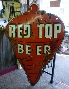 Red Top Porcelain Beer Sign