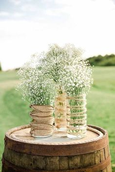 """Enjoy the beauty of these rustic vases. This is for one set (a total of 3 vases) measuring 9"""", 7"""", and 5"""" tall. These are absolutely perfect as rustic wedding or home decor. Perfect for burlap and lac                                                                                                                                                                                 More"""