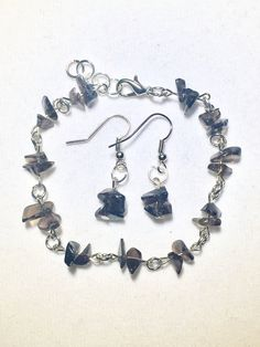Smoky Quartz Chip Bracelet and Earring Set by RedSilentWolfJewelry
