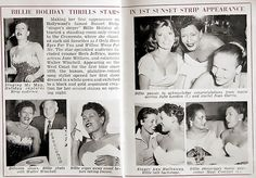 I see you Billie. Haha. Billie Holiday's First Time on the Sunset Strip - Jet Magazine September 1, 1955
