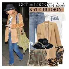"""Get the Look: Kate Hudson 70s Style"" by eraining ❤ liked on Polyvore featuring Mother, Miss Selfridge, Maison Michel, Yves Saint Laurent, Giuseppe Zanotti, topsets, celebstyle, CelebrityStyle and topset"