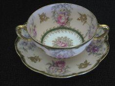 Haviland Fancy Bouillon Cup/Saucer - Antique Limoges