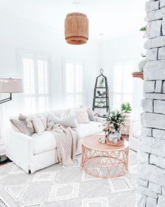 Designed by @farmhouseish Living Room Colors, Living Room Decor, White Sofas, White Rugs, Brickwork, Wood Accents, Rug Cleaning, Home Goods, Sweet Home