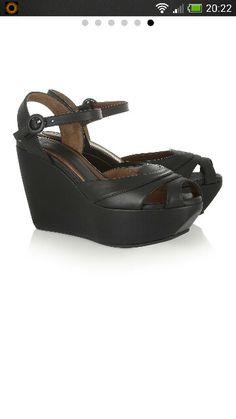 eb8b59627d85 Marni black leather wedge sandals Shoes Heels Wedges