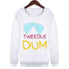BFF Best Friends Forever Tweedle Dum Dee Sweatshirt Sweater Crewneck YOLO Fashion trendy vogue coloured block SQ12017 TQI