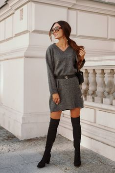 Rochie tricotata dreapta cu lungime medie gri inchis Sweaters, Dresses, Fashion, Tricot, Vestidos, Moda, Fashion Styles, The Dress, Sweater