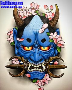 Hannya art/design done by artist 🔥 Hannya Maske Tattoo, Oni Mask Tattoo, Samurai Mask Tattoo, Hanya Tattoo, Japanese Demon Tattoo, Japanese Demon Mask, Raijin Tattoo, Samurai Artwork, Japanese Tattoo Designs