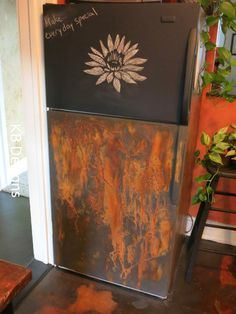 A little Sunday project by KB Designs using Modern Masters, Victoria Larsen Stencils, Cutting Edge Stencil and chalk board paint. Painted Furniture, Modern Furniture, Furniture Design, Painted Fridge, Steampunk Kitchen, Faux Walls, Orange House, Color Naranja, Board Paint