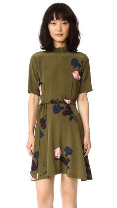 GANNI Dalton floral print crepe wrap dress | Half sleeve