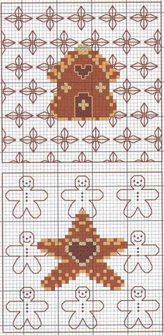 cross-stitch gingerbread biscornu... no color chart available, just use pattern chart as your color guide.. or choose your own colors...