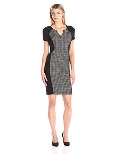 NYDJ Womens Sonya Grid Print Fitted Sheath Dress BlackOptic White 12 -- Visit the image link more details.