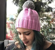 Pembe Gri Ponpon Şapka