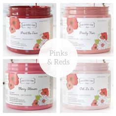 Country Chic Paint - Pink and Red — Two Old Souls Shades Of Light Blue, Shades Of Black, Vintage Cupcake, Vintage Pink, Paint Line, Old Soul, Country Chic, White Paints, Interior And Exterior