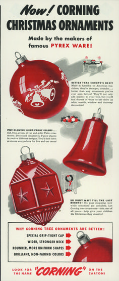 Advertisement for Corning Glass Works ornaments, clipped from an unknown magazine, possibly 1942 (bib no. 41122)