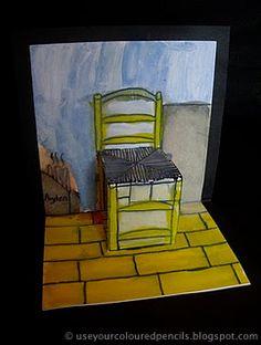 Van Gogh's Stuhl dreidimensional. Von Schülern angefertigte Arbeiten.