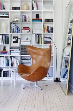 Egg chair by Arne Jacobsen from Fritz Hansen, 60 stool by Alvar Aalto from Artek and Montana shelving by Peter J. Lassen from Montana Furniture Living Room Chairs, Living Room Decor, Living Spaces, Room Inspiration, Interior Inspiration, Chair Design, Furniture Design, Plywood Furniture, Reading Nooks