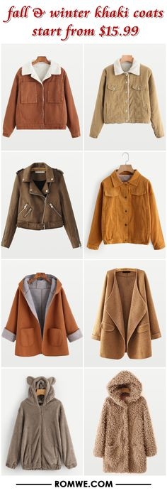 fall winter khaki coats 2017 - romwe.com