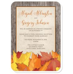 Rustic Fall Reception Only invitations designed with Autumn leaves. Your details are printed in orange and brown over beige, on an old…