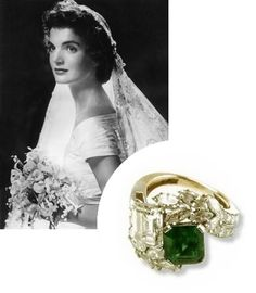 Jacqueline Kennedy's emerald engagement ring,would really love this x Los Kennedy, Jacqueline Kennedy Onassis, Jacqueline Kennedy Jewelry, Jaqueline Kennedy, Celebrity Wedding Rings, Celebrity Weddings, Marquise Diamond, Rough Diamond, Vintage Engagement Rings