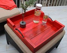 Ideas for wood box table wooden trays Large Wooden Tray, Large Tray, Wood Tray, Wood Boxes, Pallet Tray, Coffee Table Tray, Rustic Coffee Tables, Diy Pallet Projects, Wood Crafts