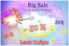 LemurDesigns: SALE 50% on all my PU products