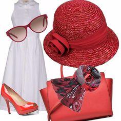 Gioca su due colori l'outfit estivo composto da un vestito bianco di taglio molto semplice, da abbinare alla nota rossa di colore delle scarpe lucide, della borsa alla quale annodare un foulard per gli imprevedibili colpi di vento e il cappello di paglia che aggiunge un 'aria sbarazzina. Immancabili e indispensabili gli occhiali che completano l'outfit.