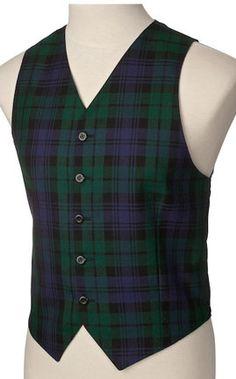 Mens Scottish Imported BLACK WATCH Wool Plaid Dark Blue, Green