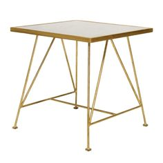 Ohenry Gold Leafed Antique Mirror Side Table by Worlds Away OHENRY G