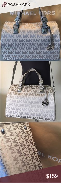 MICHAEL KORS NEW XL SHOULDER/CROSSBODY AUTH MICHAEL KORS NEW NEVER USED WITH TAGS LARGE HANDBAG/ SHOULDER/ CROSSBODY BAG 100% AUTHENTIC. THIS IS THE LARGE VERSION OF THIS BAG. SO STUNNING AND STYLISH. VERY ROOMY BAG. LOTS OF INTERIOR POCKETS AND METAL FEET ON THE BOTTOM. THIS BAG MEASURES 13 INCHES WIDE BY 9 INCHES TALL AND A WHOPPING 7.5 INCHES DEEP. HAS HANDLES AND A LONG ADJUSTABLE AND REMOVABLE SHOULDER / CROSSBODY STRAP. A TRULY AMAZING BAG FOR THE FASHIONISTA. THE COLOR IS GREY Michael…