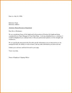 Employment Reference Request Letter Template Salutations For Cover