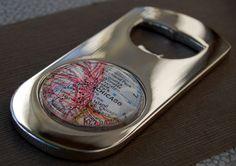 Customizable vintage map bottle opener