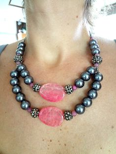 Bib Necklace Statement Necklace Wedding Jewelry Pink by gBoutique. $59.00, via Etsy.