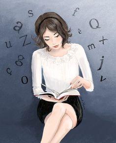 There are lyrics that fly readings / Hay letras que sobrevuelan las lecturas (ilustración de Cécile Mancion)