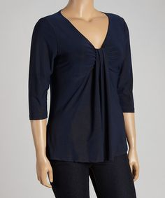 Look at this #zulilyfind! Black Three-Quarter Sleeve Top - Plus by Avital #zulilyfinds