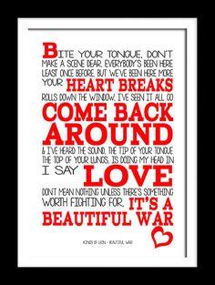Kings of Leon Beautiful War song lyric art typography wall art canvas or print