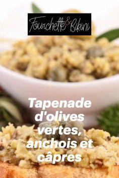 Découvrez notre recette de tapenade d'olives vertes, anchois et câpres. Olives, Cereal, Oatmeal, Beans, Vegetables, Breakfast, Food, Healthy Recipes, Sweet Recipes