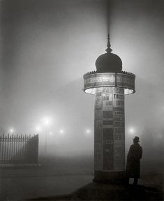 """Brassaï: Morris Column in the Fog, 1932 """" Brassaï made his name as a chronicler of the night. His book Paris de nuit surveys the activities and topography of the city after dark, from the. Harlem Renaissance, Nocturne, Brassai, Moving To Paris, Salvador Dali, Henri Matisse, Henry Miller, After Dark, Moma"""